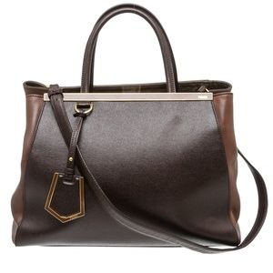 Fendi Brown Leather Large 2Jours Tote Bag